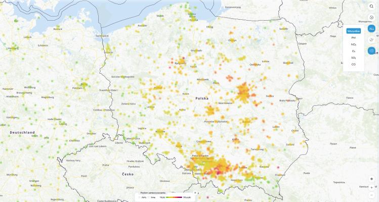 mapa jakości powietrza