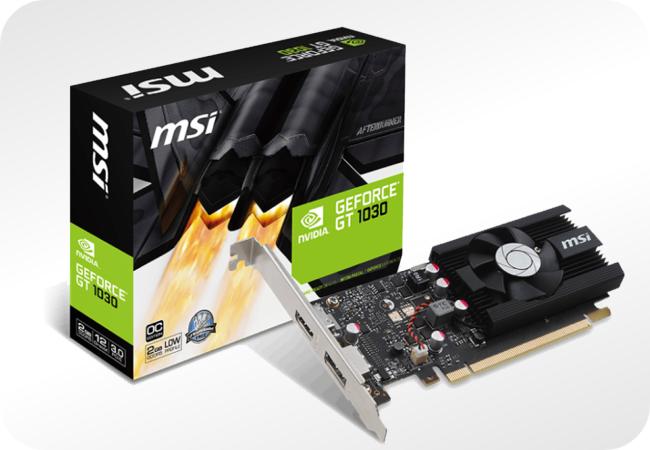 NVIDIA GeForce GT 1030 - przykładowy wygląd i opakowanie
